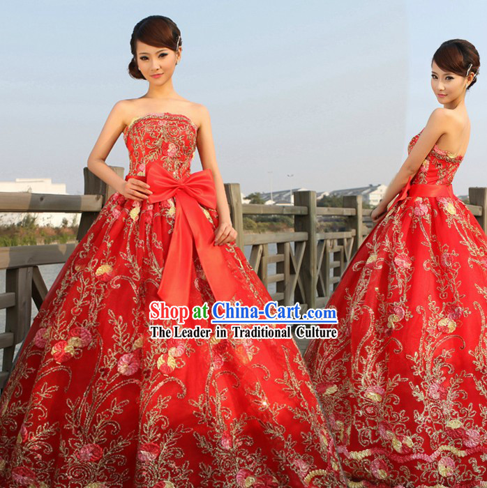 Chinese Lucky Red Wedding Evening Dress for Brides