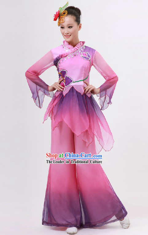 Traditional Chinese Purple Color Transition Dance Costume for Women