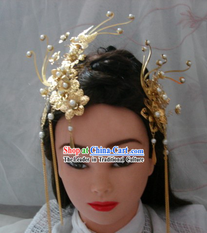 Handmade Ancient Chinese Style Empress Golden Phoenix Hair Accessories Set