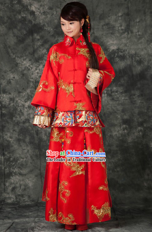 Traditional Chinese Royal Red Phoenix Wedding Suit for Brides