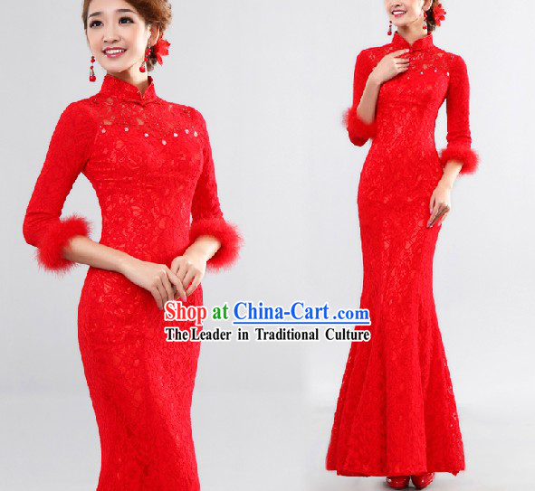 Lucky Red Wedding Qipao Style Wedding Dress for Brides