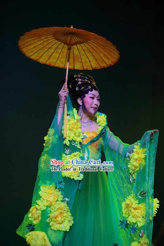 Ancient Chinese Tang Dynasty Female Emperor Costumes and Umbrella