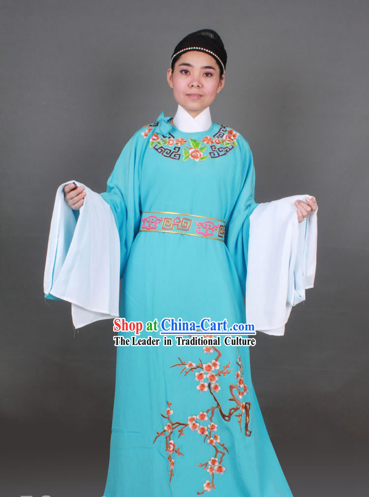 Blue Long Sleeve Chinese Shaosing Opera Embroidered Male Costumes
