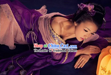 Ancient Chinese Tang Palace Empress Purple Costumes for Women