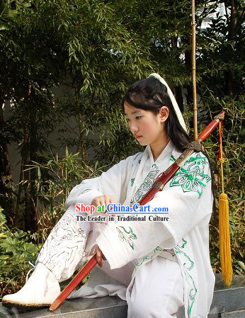 Ancient Chinese White Swordsman Costumes for Men