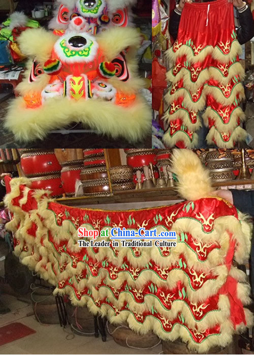 Fluorescent Glowing in Dark Grand Opening Celebration Lion Dance Costumes Complete Set