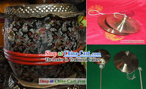Traditional Lion Dance Drum, Gongs and Cymbals Music Instrument Complete Set