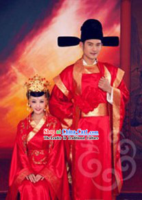 Chinese Classical Wedding Dress Two Complete Sets for Bride and Bridegroom