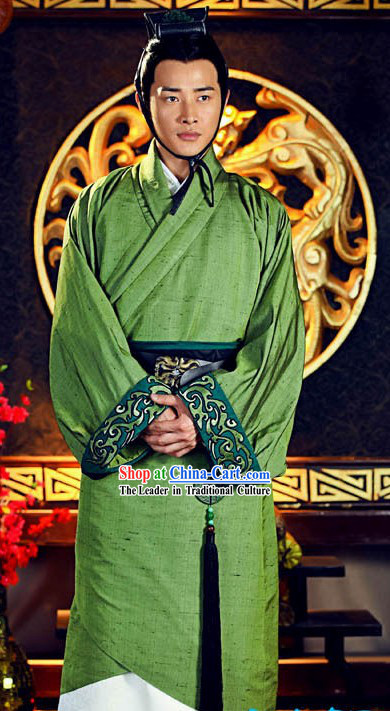 Ancient Han Dynasty Emperor Liu Bang Costume and Hat for Men