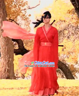 Chinese Qin Dynasty Period Filk Hero Ancient Chinese Red Knight Hanfu Clothing for Women