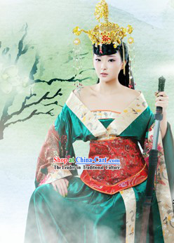 Ancient Chinese Empress Costume and Headwear Complete Set for Women