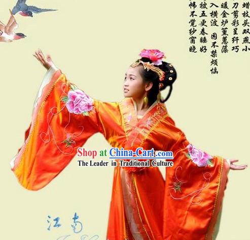 Ancient Chinese Imperial Princess Costumes and Hair Accessories for Children