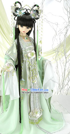 Ancient Chinese Princess Light Green Hair Accessoreis and Wig Complete Set
