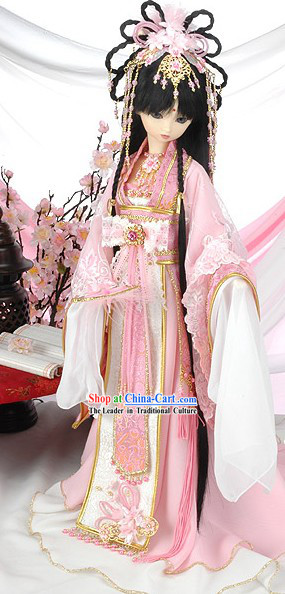 Ancient Chinese Princess Cherry Garment, Hair Accessoreis and Wig Complete Set
