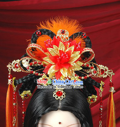 Ancient Chinese Imperial Princess Clothes, Hair Accessories and Long Wig Complete Set