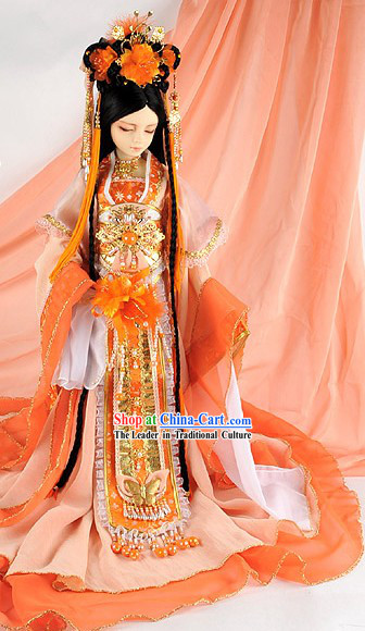 Ancient Chinese Imperial Princess Costumes, Hair Accessories and Long Wig Complete Set