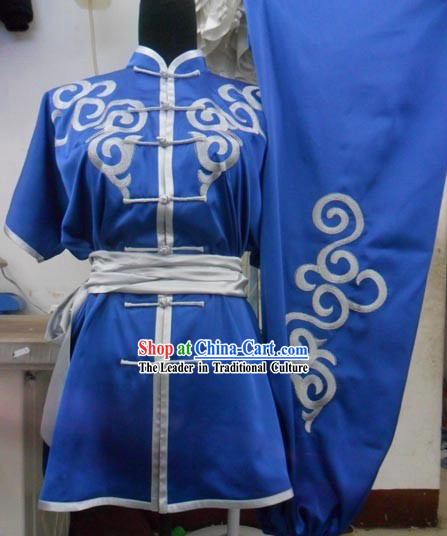 Blue Silk Kung Fu Tournaments Costumes for Men or Women