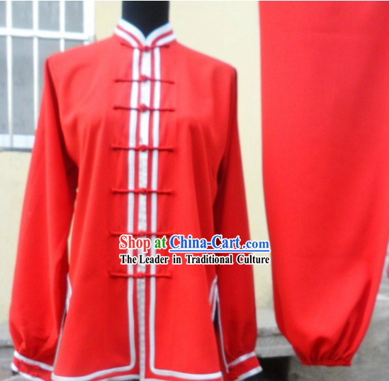 Traditional Red Kung Fu Tournament Uniform for Women or Men