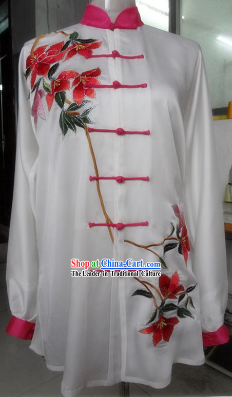 Supreme Embroidered Flower Gong Fu Competition Blouse and Pants Complete Set