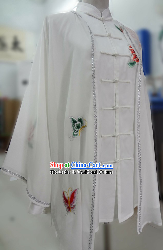 Supreme Silk Kung Fu Competition Butterfly Flower Blouse, Pants and Cape Complete Set