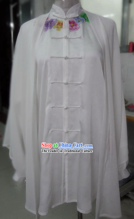 Supreme Silk White Embroidered Flower Tai Chi Clothes, Pants and Cape
