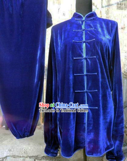Blue Silk Velvet Kung Fu Uniform for Women