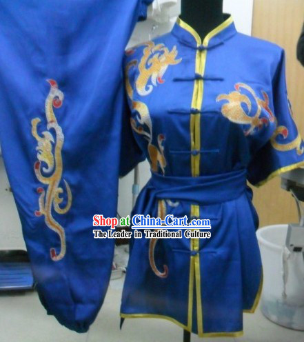 Professional Silk Kung Fu Competition Costumes for Men