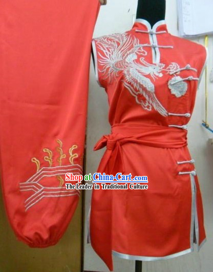 Red Silk Phoenix Long Fist Performance Costume for Women