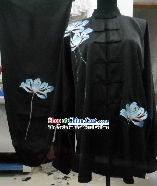 Black Silk Lotus Embroidery Tai Chi Uniform for Women