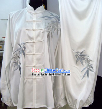 White Wu Shu Competition Silk Bamboo Spirit Uniform for Men