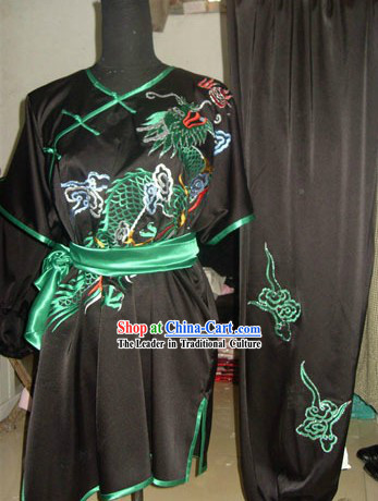Pure Silk Long Dragon Wushu Competition Uniform for Men