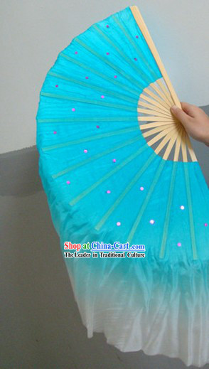 Chinese Blue Classic Silk Dance Fan