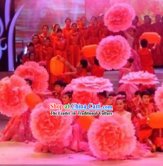 Chinese Pink Peony Flower Dance Umbrella