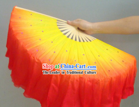Chinese Color Transition Fire Color Silk Dance Fan