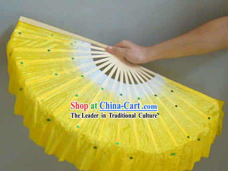Chinese Color Transition White and Yellow Sequins Silk Dance Fan