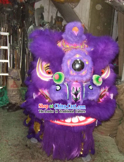 Supreme Long Wool Purple and Golden Lion Dance Costume Complete Set
