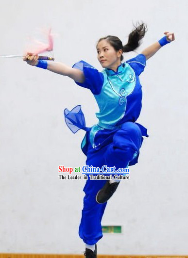 Blue Chinese Martial Arts Kung Fu Competition Silk Uniforms for Women