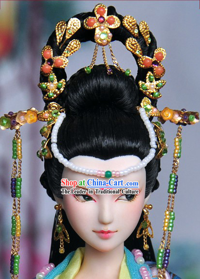 Ancient Chinese Queen Hair Accessories and Long Wig