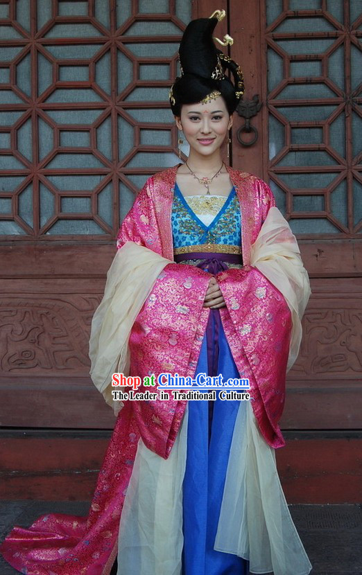Ancient Chinese Palace Empress Costumes, Wig and Hair Accessories Complete Set