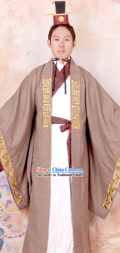 Ancient Chinese Prime Minister Clothing and Coronet for Men