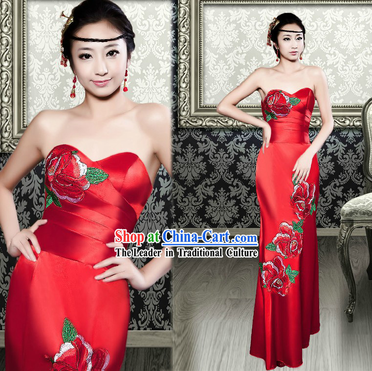 Chinese Classic Red Peony Evening Dress for Women