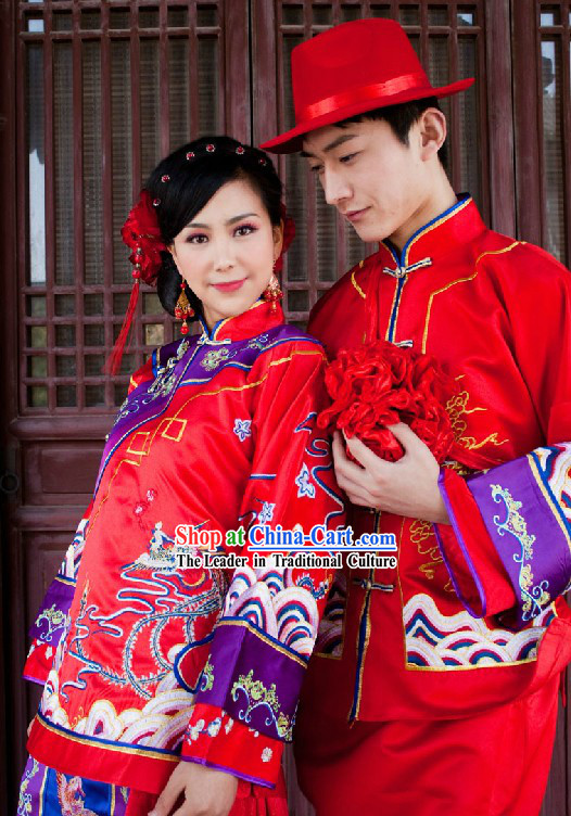 Traditional Red Chinese Dragon and Phoenix Wedding Dresses for Men and Women