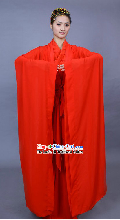 Ancient Chinese Red Hanfu Wedding Dress Complete Set for Brides