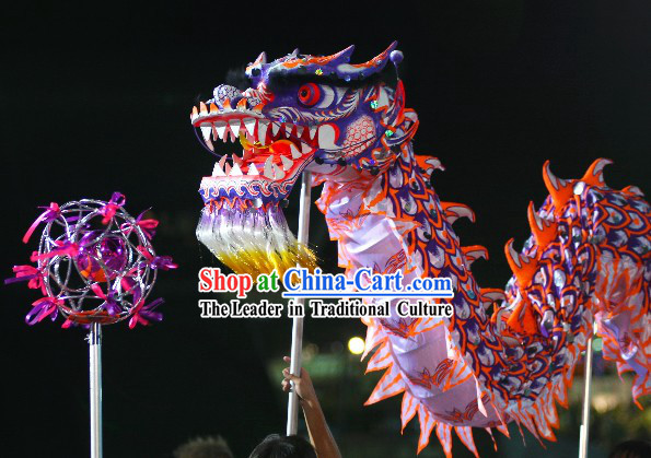 Supreme Grand Opening and Festival Celebration Purple Luminous Dragon Dance Costume Complete Set
