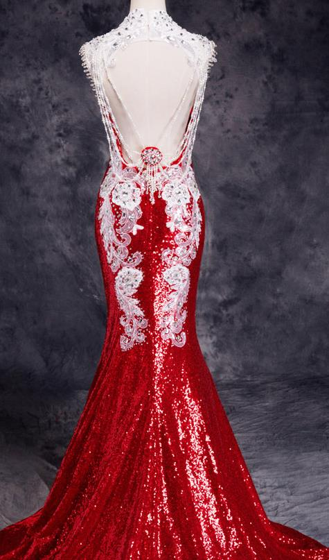 Stunning Chinese Red Wedding Evening Dress