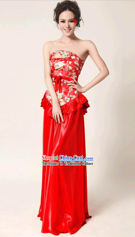 Chinese Classical Red Wedding Evening Dress for Brides