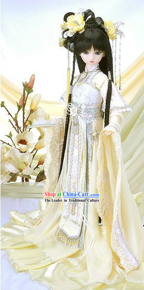 Ancient Chinese Light Yellow Princess Clothing and Hair Accessories Complete Set for Women
