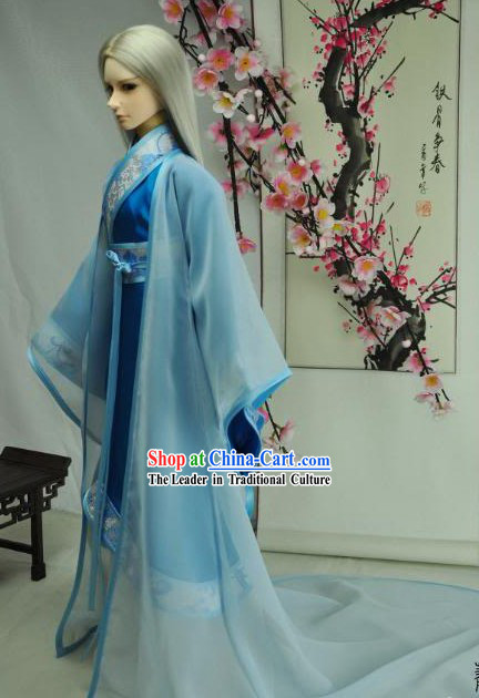 Ancient Chinese Poet Blue Clothes for Men