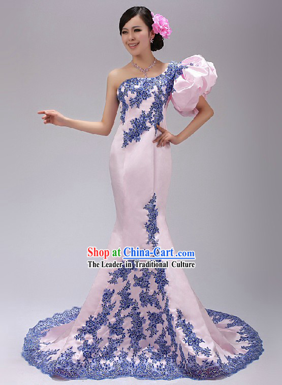 Chinese Elegant Pink Evening Dress with Fish Bottom Tail