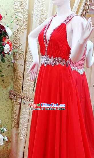 Lucky Red Shinning Crystal Wedding Evening Dress